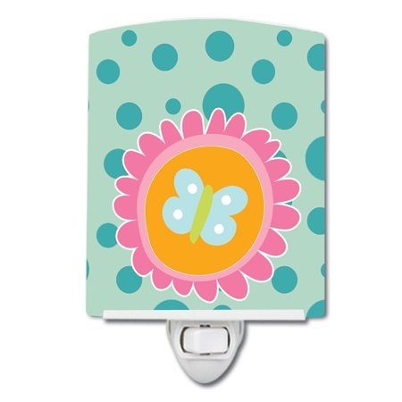Butterfly in Polkadots Ceramic Night Light