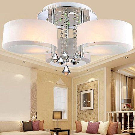 LOCO LED Modern acrylic crystal chandelier 3 lights (Chrome) , Modern  Ceiling Light Fixture For, Hallway, Bedroom, Living Room
