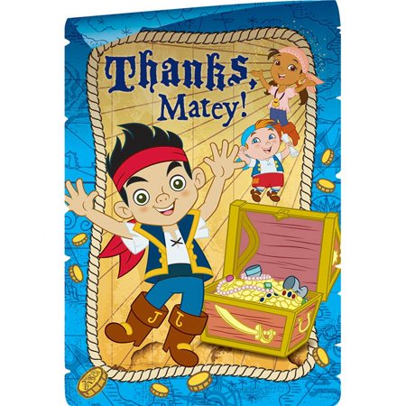 Jake And Neverland Pirates Postcard Thank You Cards (8 Pack) - Party Supplies - Halloween Party Postcards