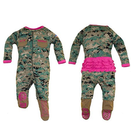 TC U.S.M.C. Baby Girls Woodland Camo Footed Crawler with Pink Ruffles 0-3M