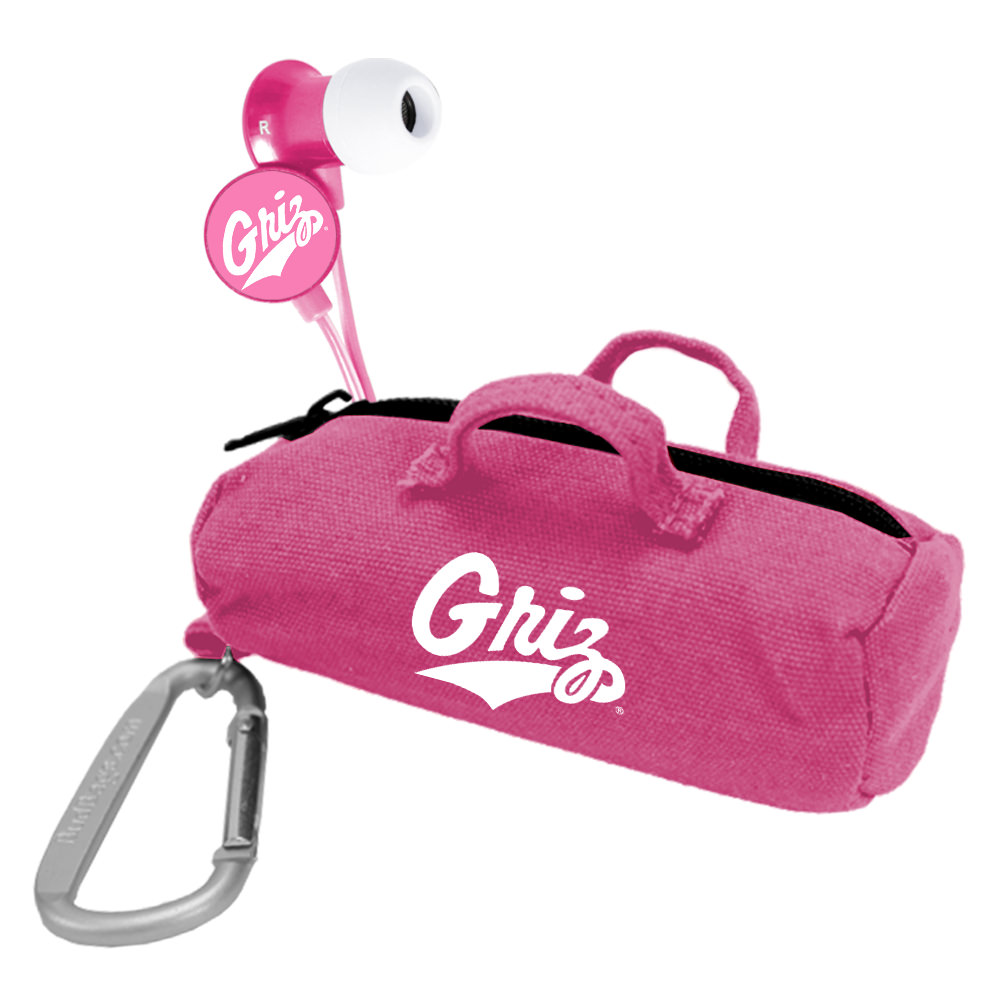 Montana Grizzlies Pink Scorch Earbuds with BudBag