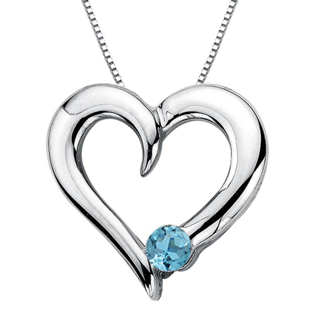 Blue Topaz Heart Pendant with Chain in Sterling Silver (1 6 cttw) by Katarina