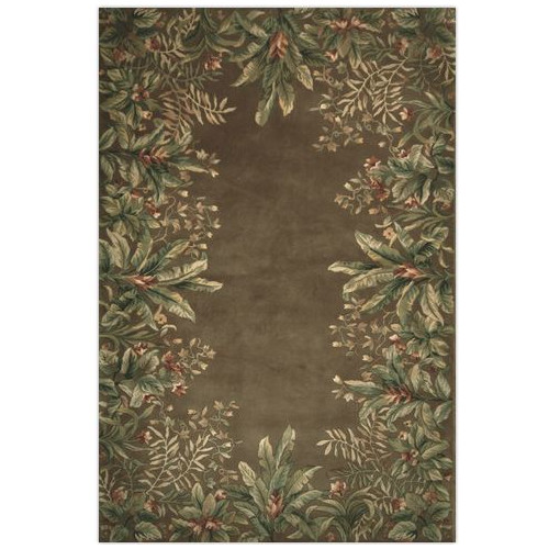 KAS Rugs Emerald Taupe Tropical Border Area Rug