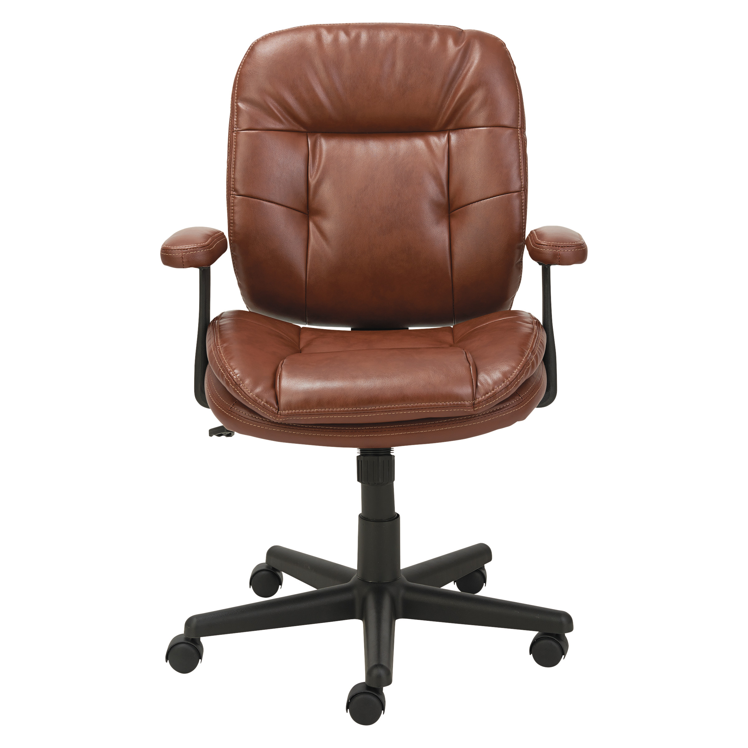 OIF Swivel/Tilt Leather Task Chair, Fixed T-Bar Arms, Chestnut Brown