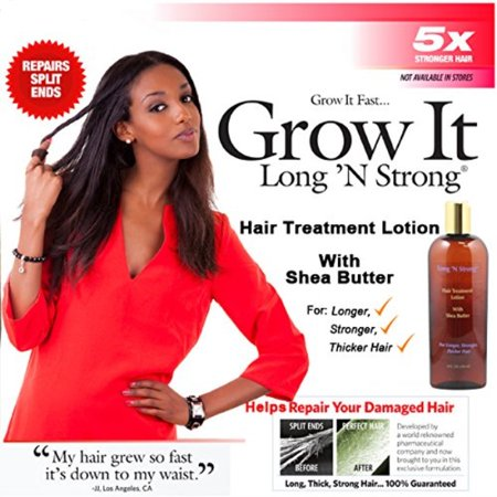 Want Longer Hair? Want Stronger Hair? Helps Grow Hair Fast! Buy Long 'N Strong® Treatment Lotion for Longer, Thicker Hair! - Split End Repair - Split End Treatment! For All Ethnic Hair (Best Products To Grow Hair Longer Faster)