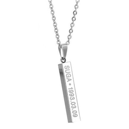 Fancyleo BTS Members Name Date Pendant Necklace Fashion Jewelry Silver Alloy Chain Hot Gift for Fans