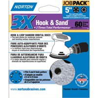 50-Pack Norton 74368 5-Inch 5 and 8 Hole P60 3X Hook and Loop Discs