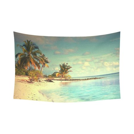 PHFZK Ocean theme Wall Art Home Decor, Beautiful Maldives Beach with Palms and Blue Sea Tapestry Wall Hanging 60 X 90 Inches ()
