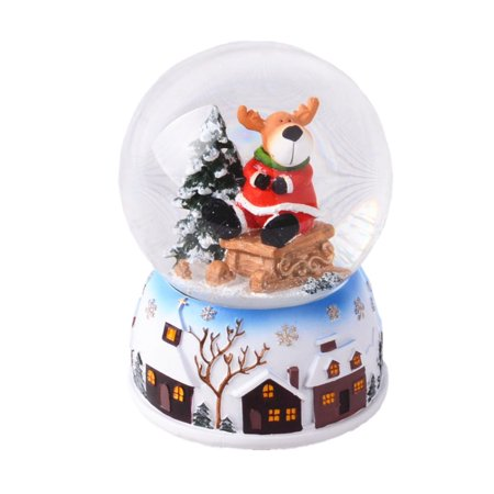Lightahead® 100MM Polyresin Christmas Reindeer Water Globe with music playing We wish you a merry christmas Waterball Table Top Decoration