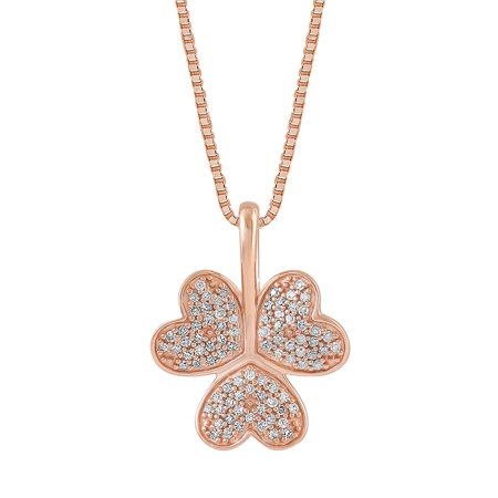 1/6 CTTW Diamond Tri Heart Pendant Necklace 18K Rose Gold Plated Sterling Silver