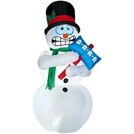 Animated Shivering Snowman Inflatable - 6 Feet Tall - Shivers and Shakes -