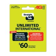 Straight Talk $60 Unlimited International** 30 Day Plan (with up to 10GB of data at high speeds, then 2G*) (Email... by INTERACTIVE COMMUNICATIONS