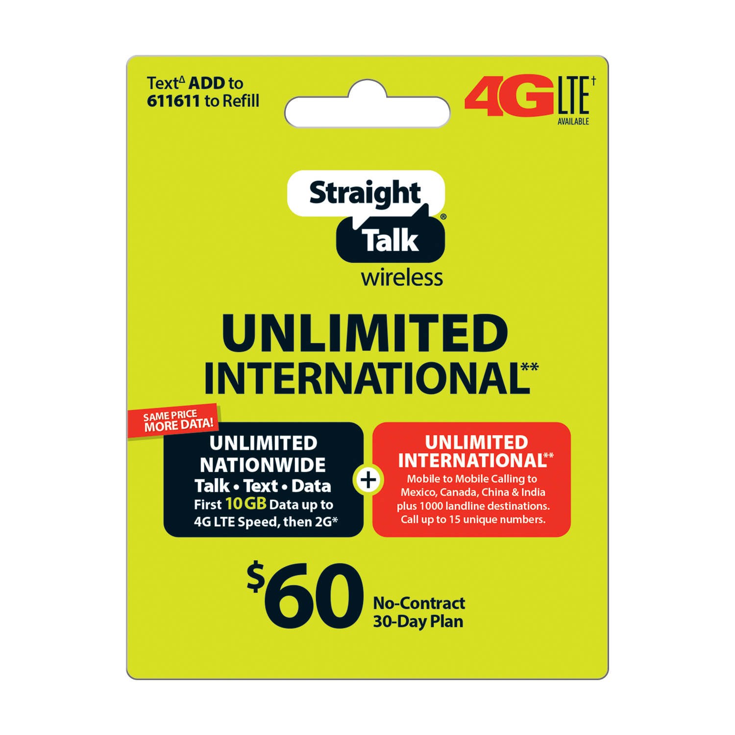 Straight Talk $60 Unlimited International** 30 Day Plan (with up to 10GB of data at high speeds, then 2G*) (Email Delivery)