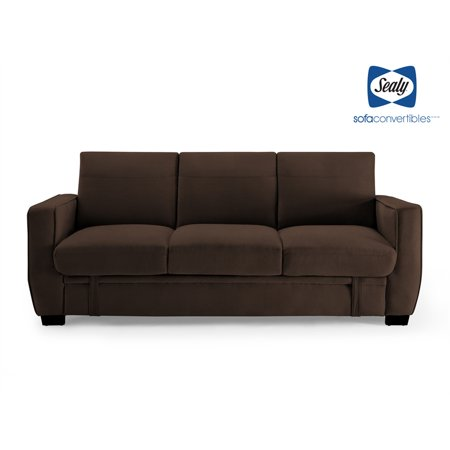 Sealy Perris Transitional Convertible Sofa with Storage in Brown ...