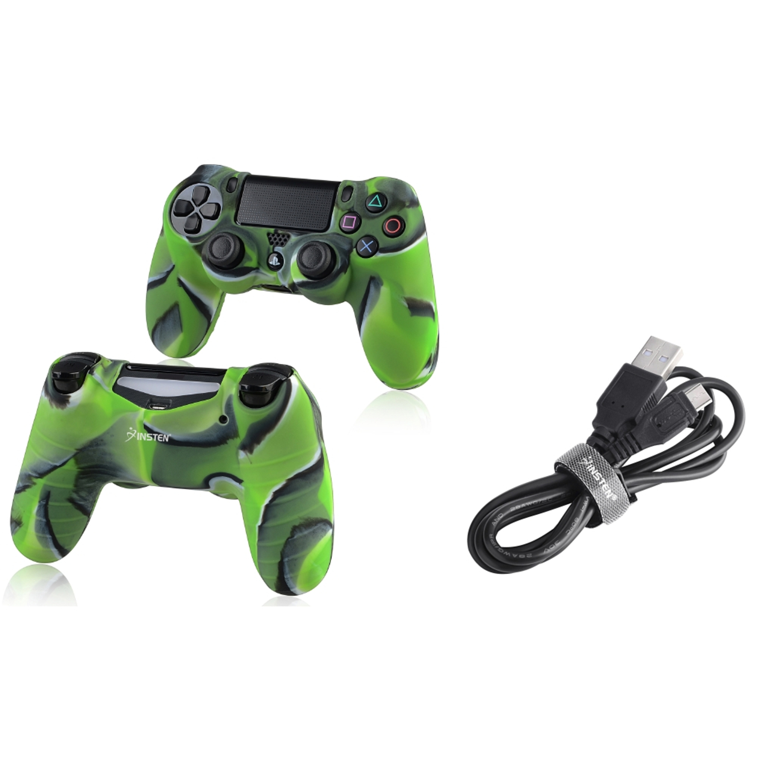 Insten Black 3.3FT Micro USB Charger Cable+Camouflage Navy Green Skin Case Cover for Sony PS4 Playstation 4