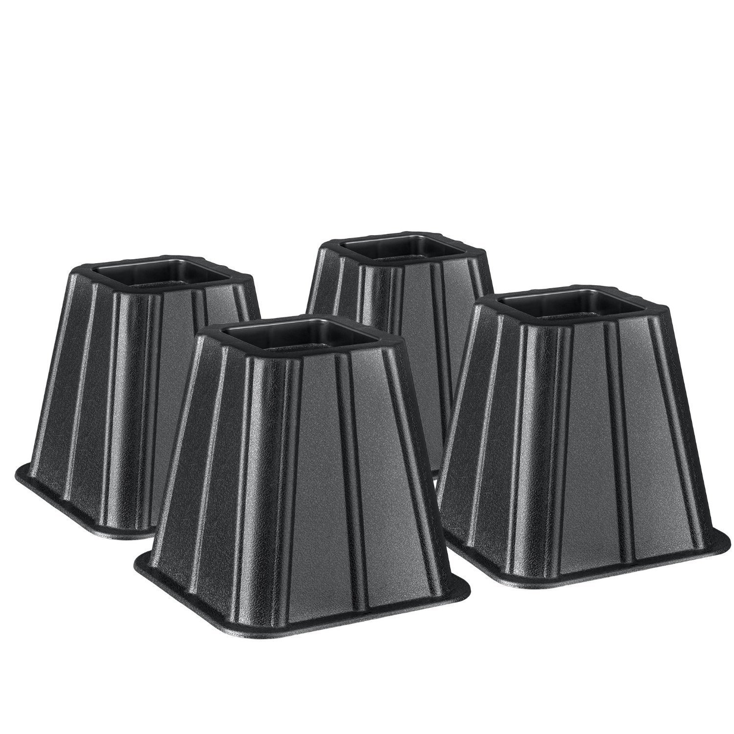 Set of 4 Bed Risers Raise Furniture Create Underbed Storage, Total Height: 6; Base: 6.75L X 6.75W; Top: 4.25L X 4.25W; Inset For Bed Foot: 3L x.., By Starplast