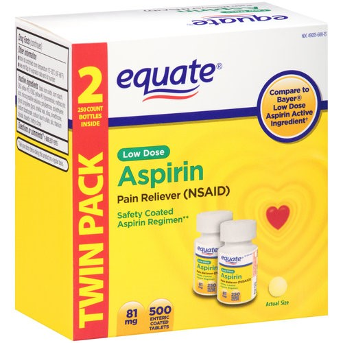 Equate Low Dose Aspirin Enteric 81mg Coated Tablets, 250 Ct, 2 Ct