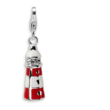 Sterling Silver Enamel Swarovski Crys Lighthouse W Lobster Clasp Charm