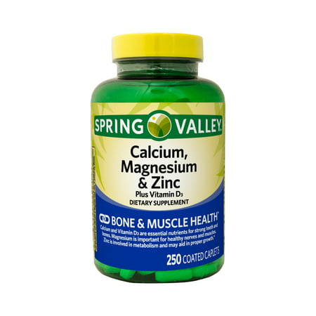 Spring Valley Calcium, Magnesium & Zinc plus Vitamin D3 Coated Caplets, 250 Count