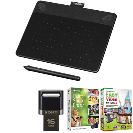 Wacom Intuos Art Pen and Touch Tablet Small Black 16GB Creative Bundle w/Corel Paint includes Wacom Intuos Tablet, Corel Paint Shop Pro and 16GB JumpDrive
