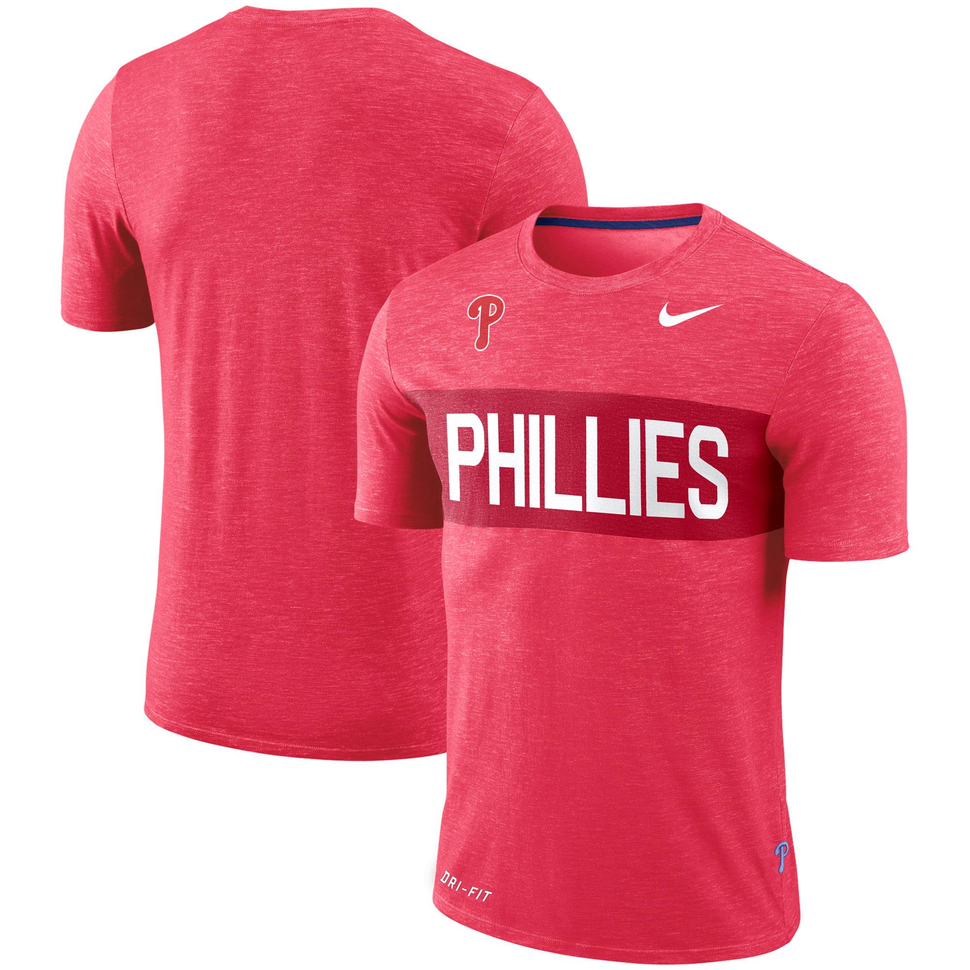 Philadelphia Phillies Nike Slub Stripe Performance T-Shirt - Red