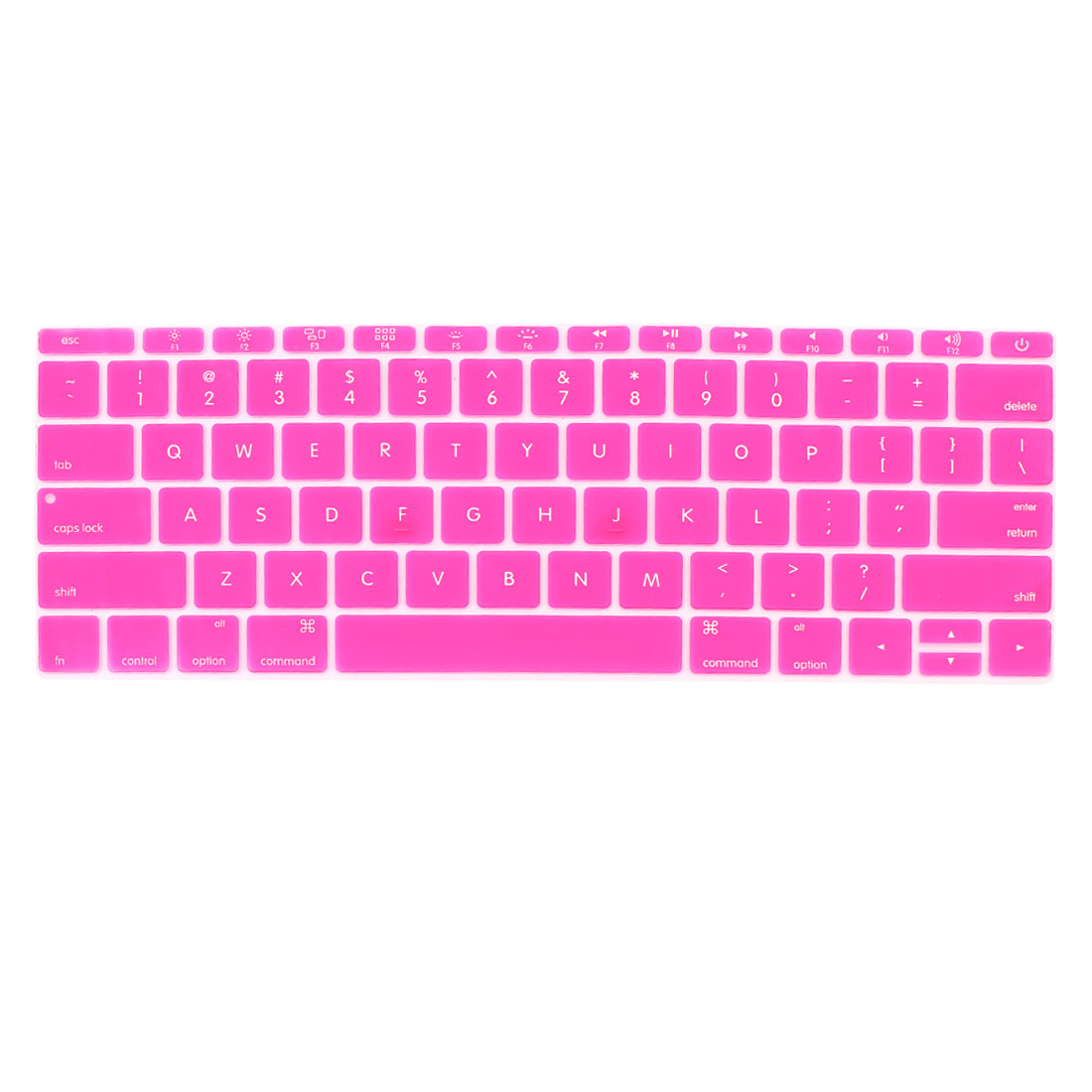 Laptop Rubber Protective Shell Keyboard Skin Cover Fuchsia for MacBook 12