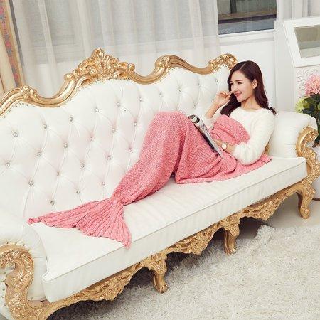 e-joy Mermaid Crochet Knitting Blanket all Season Bag Best Birthday Christmas Gift Handmade Living Room Sleeping Blanket, Pink for Adult 71x36