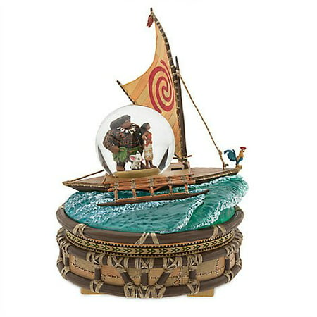 Moana Movie Merchandise Maui Pua Sail Boat Wave Rider Light Up Snowglobe Figure Statue Collector Decor Figurine Disney Animated Cartoon Toy Collectible