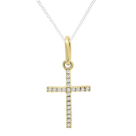 0.07 Carat (ctw) Dainty 14K Yellow Gold Round White Diamond Ladies Micro Pave Religious Cross Pendant