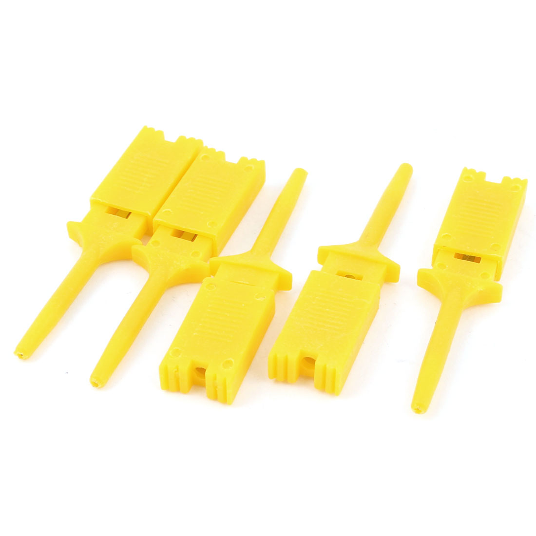 "Unique Bargains 5 Pcs Yellow 2"" Length Meter Multimeter Lead Wire Testing Split Hooks Clip"