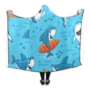 ASHLEIGH Hooded Throw Wrap Funny Sharks Wearable Blanket 56x80 Inch Comfortable Softness Cosplay Robe