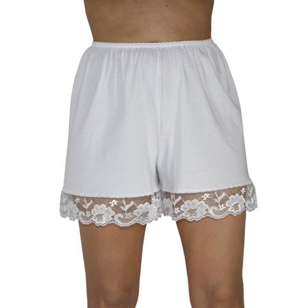 Border Knit Skirt (Underworks Pettipants Cotton Knit Culotte Slip Bloomers Split Skirt 4-inch Inseam)