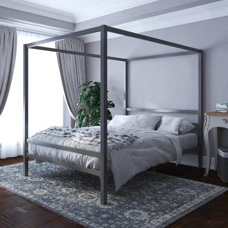 DHP Modern Canopy Bed, Gunmetal Gray, Queen