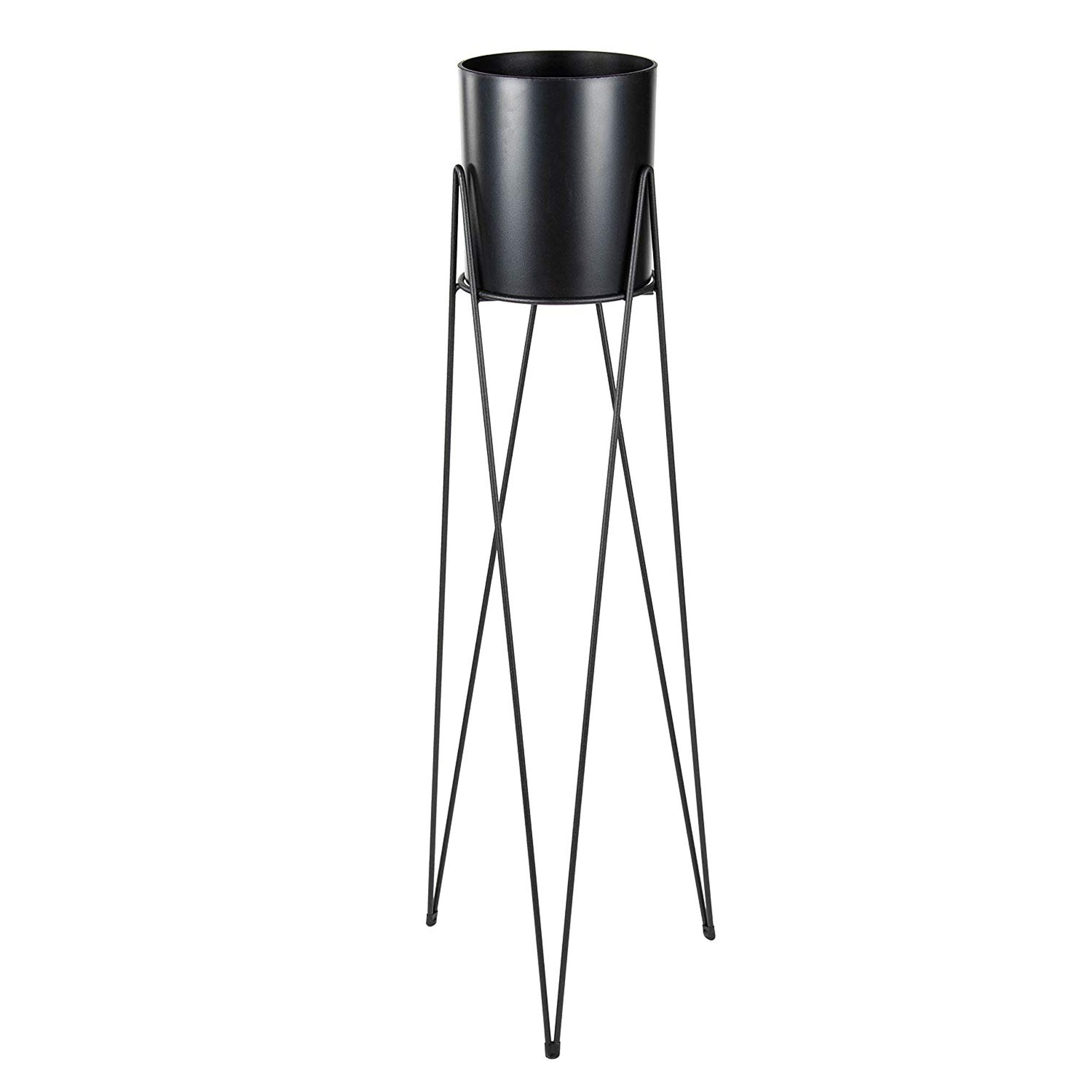 Plant Stand Set Modern Plastic Planter With Tall Metal Stand Decorative Tall Standing Flower Succulent Pot Holder Indoor Outdoor Home Decor For Terrace Patio Black 32 7 X 11 X