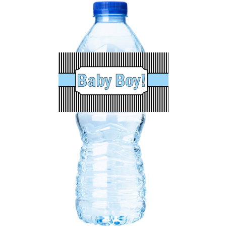 White & Black Stripes  Baby Boy Shower Party Decorations 15ct Water Bottle Sticker - Star Wars Water Bottle Labels
