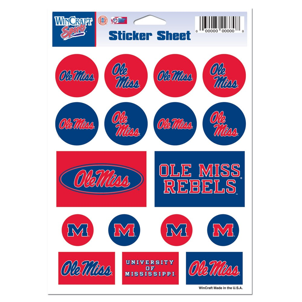 Mississippi Rebels Official NCAA 5 inch x 7 inch  Sticker Sheet by WinCraft