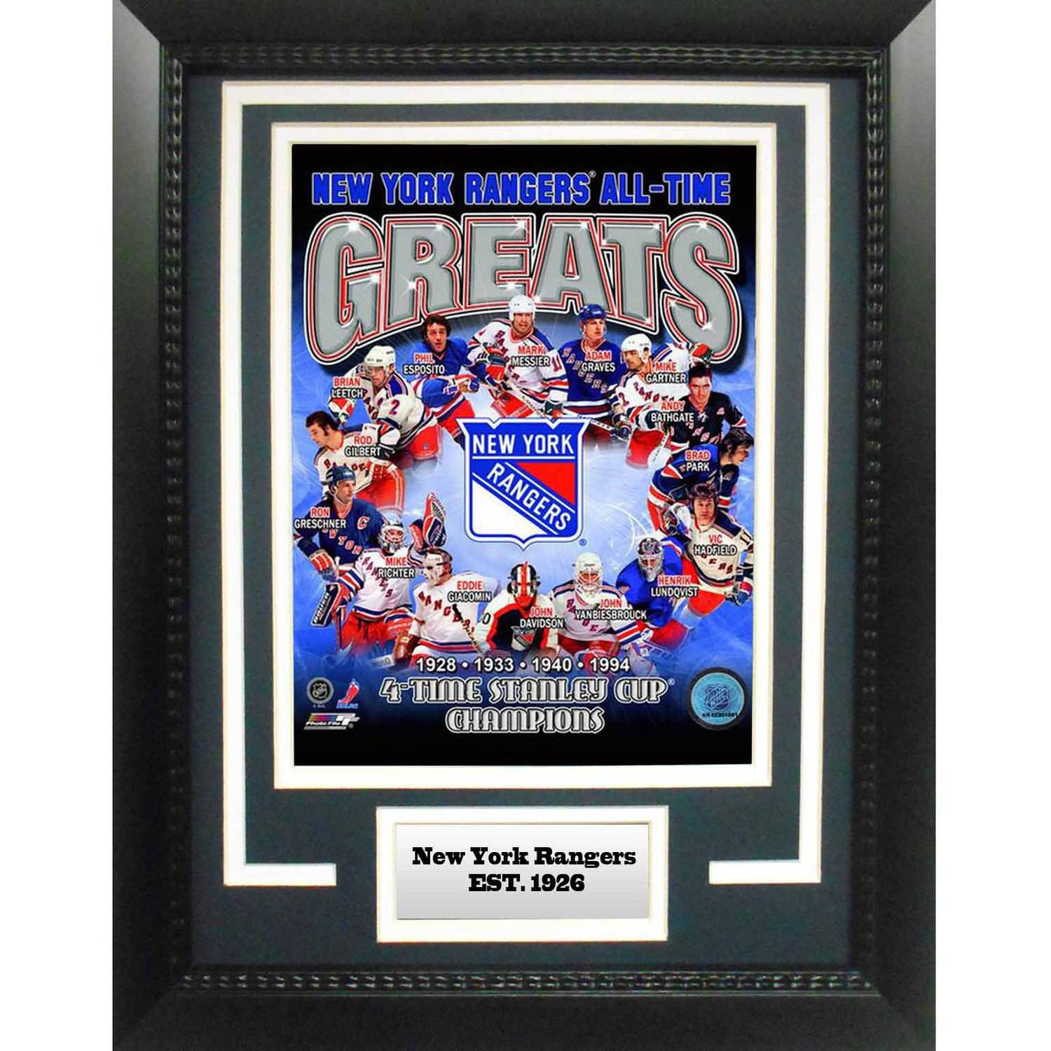 "NHL New York Rangers Greats 11"" x 14"" Deluxe Frame"