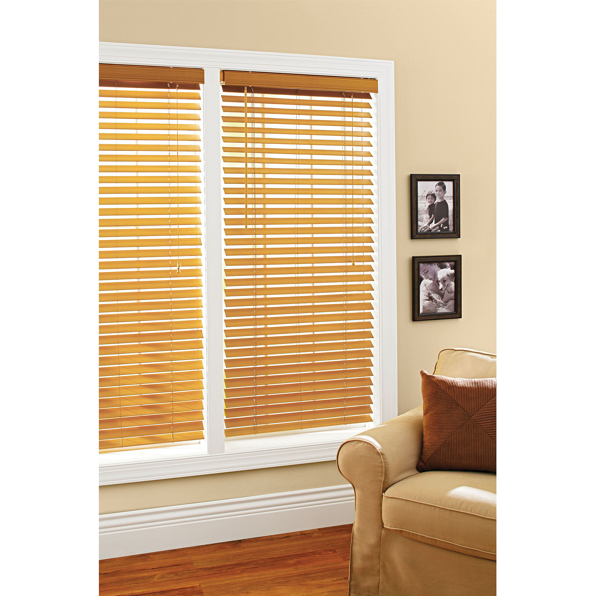 Better Homes And Gardens 2 Faux Wood Windows Blinds Oak Walmart Com