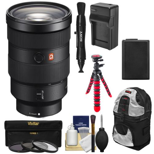Sony Alpha E-Mount FE 24-70mm f/2.8 GM Zoom Lens with Battery & Charger + Backpack + Flex Tripod + 3 Filters + Kit