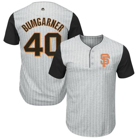 bc53ca00e6a Majestic - Madison Bumgarner San Francisco Giants Majestic Big   Tall  Pinstripe Player T-Shirt - Gray Black - Walmart.com