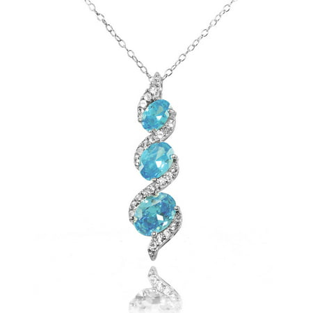 Simulated Aquamarine and CZ Sterling Silver Oval S Design Three-Stone Journey Necklace Design Sterling Silver Necklace