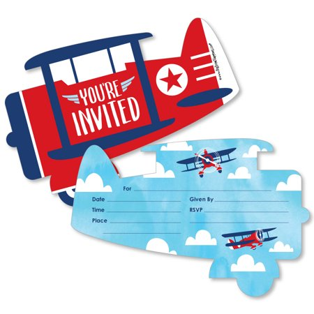 Taking Flight - Airplane - Shaped Fill-In Invitations - Vintage Plane Baby Shower or Birthday Party Invitation - 12 Ct