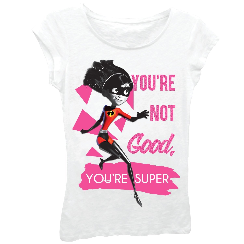 Disney Little Girls' The Incredibles 2 Violet Superhero Short Sleeve T-Shirt, White, 5/6