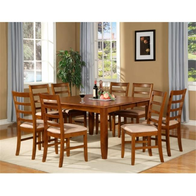Wooden Imports Furniture PF7-SBR-C 7PC Parfait Square Table with 18 in. Butterfly Leaf & 6 Microfiber upholstered Seat Chairs in Saddle Brown Finish