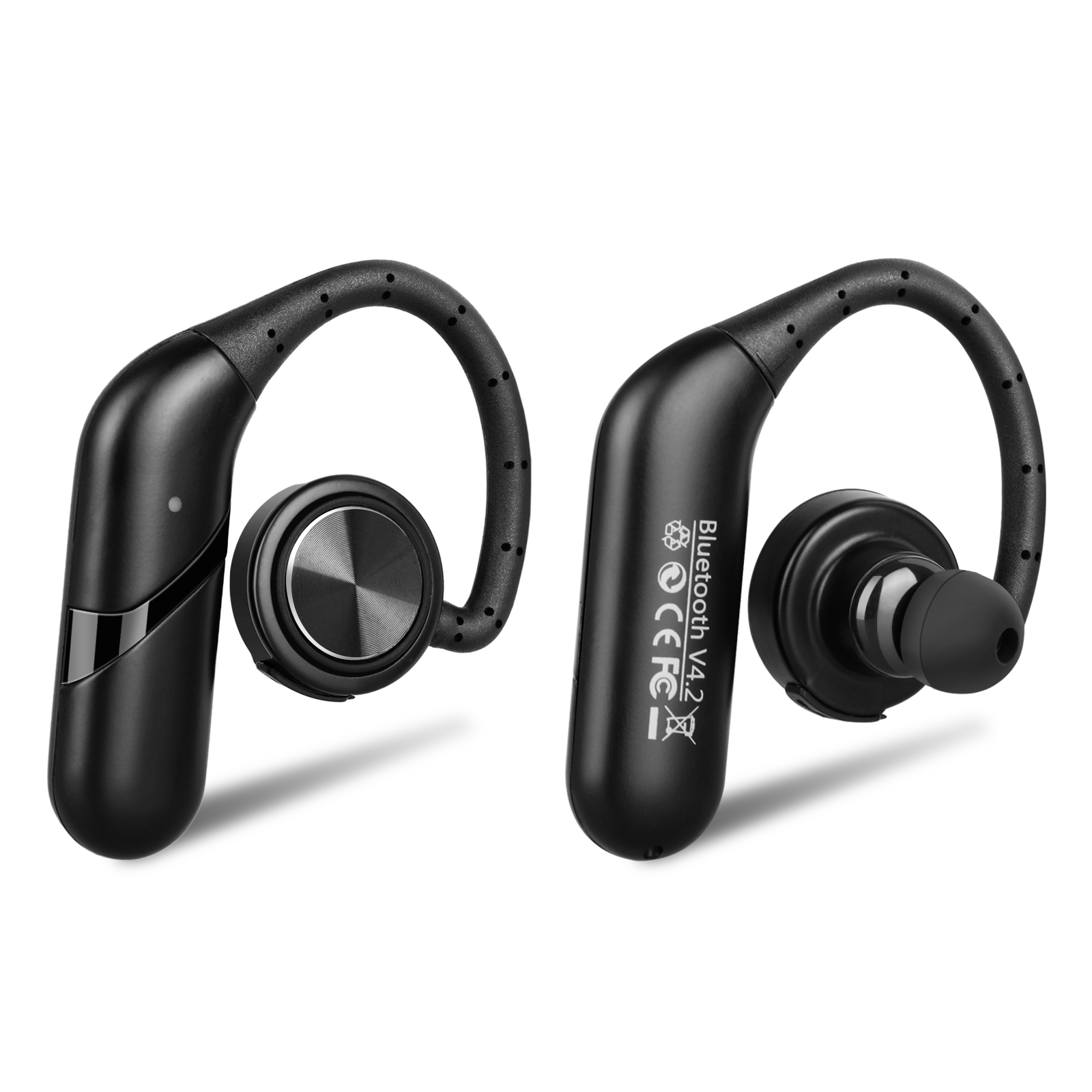 Bluetooth Wireless Headset, Waterproof Ear Hooks Earphones Noise Cancelling In-ear Earbuds True Bass Stereo w/ Mic for iPhone and Android