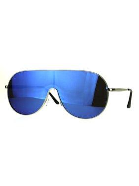 a199e23d63a7 Product Image Color Mirror Lens Metal Shield Racer Oversize Sunglasses  Silver Mirror