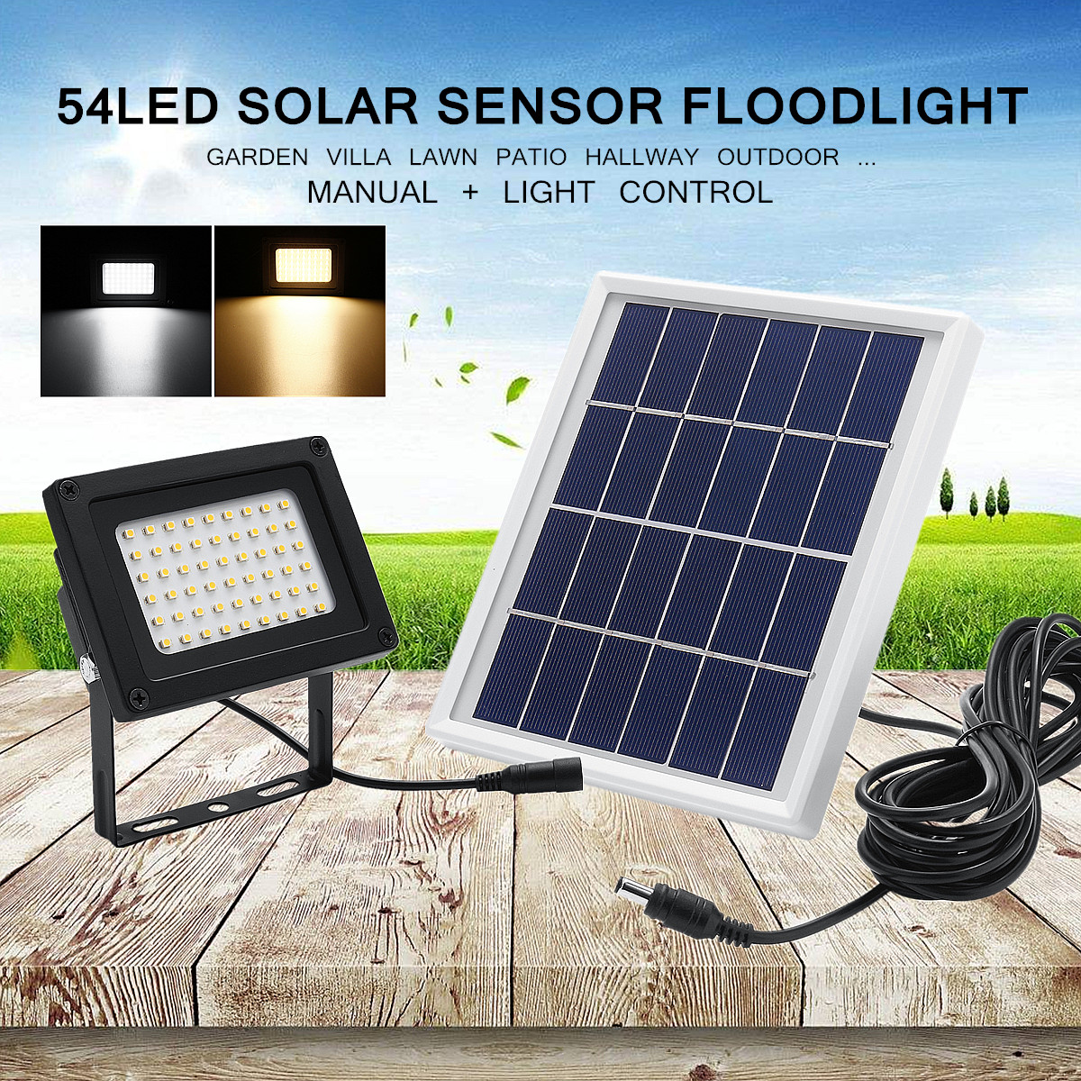 54  LED Super Bright Solar Powered Lamp Flood Light Spot Lamp Wall Light Dusk-to-Dawn Sensor Waterproof + Solar Panel