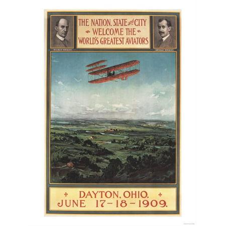 Dayton, Ohio - Wright Brothers Plane, 1st Flight Promotional Poster Print Wall Art By Lantern (Promotional Press)