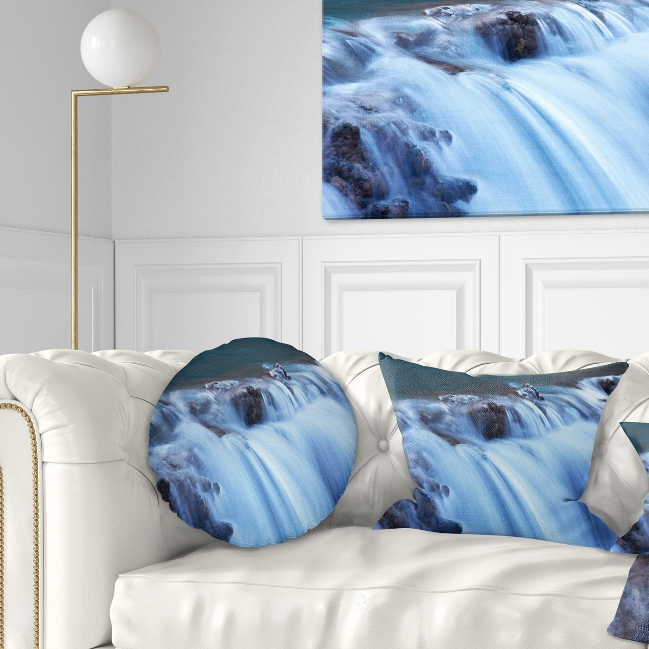 Design Art Designart Fantastic Blue Water Cascade Landscape Printed Throw Pillow Walmart Com Walmart Com