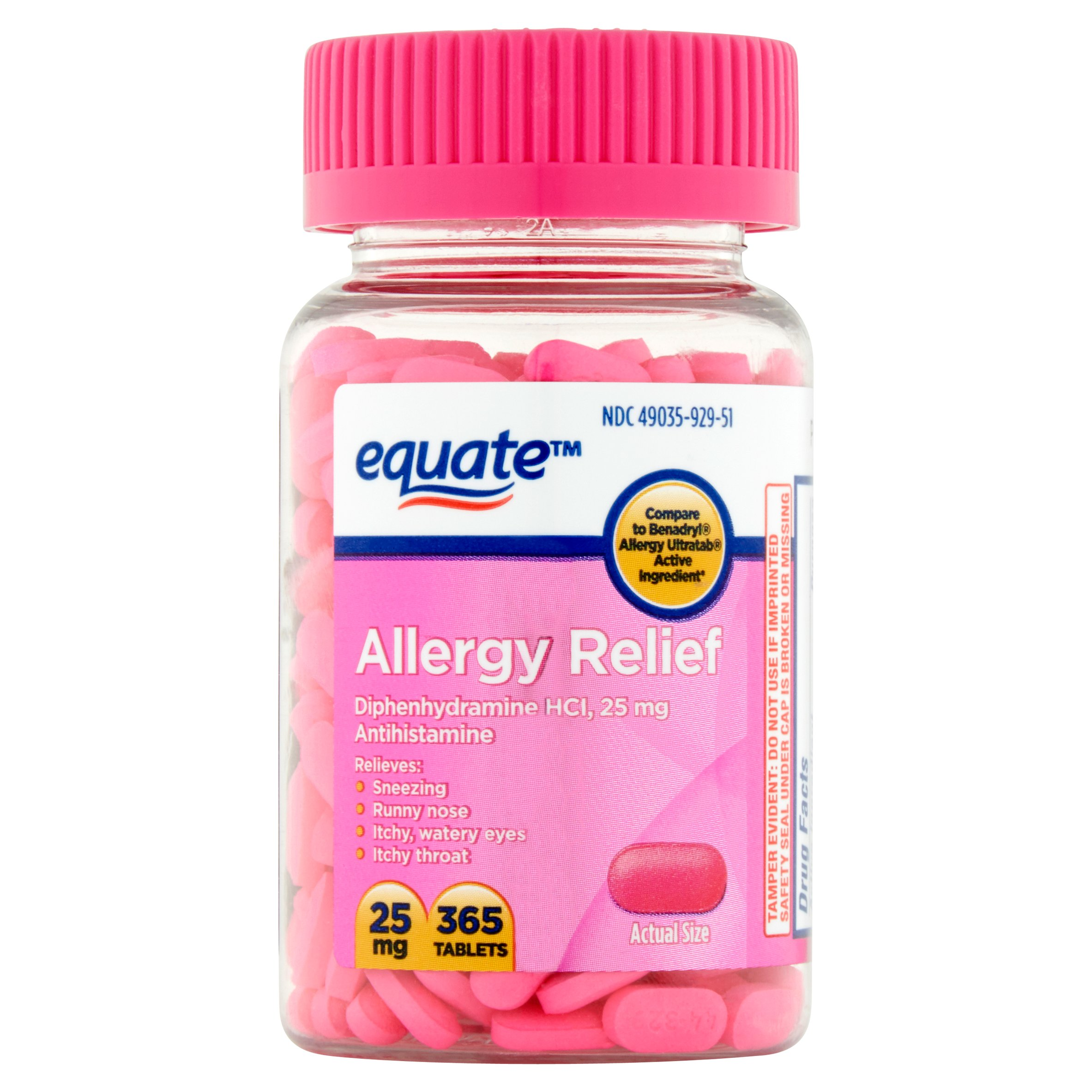 Equate Allergy Relief Diphenhydramine Tablets, 25 mg, 365 Ct - Walmart.com | Tuggl